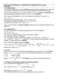 Exercices de physique des particules sur la radioactivité - correction