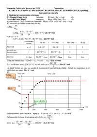 Exercitations de physique des dispositifs sur la chimie et mouvement pour un projet scientifique - correction