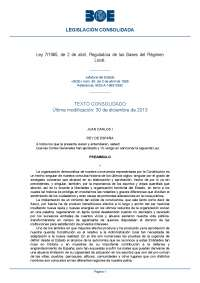 Ley 7 1985, de 2 de abril, Reguladora de las Bases del Régimen