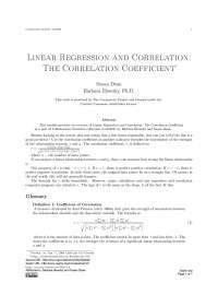 Linear Regression and Correlation - Business Statistics - Handout