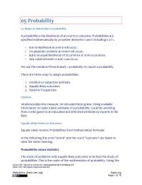 Probability - Business Statistics - Handout