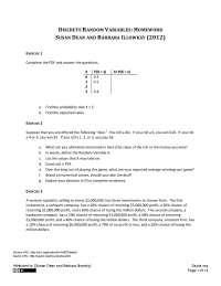 Discrete Random Variables - Business Statistics - Homework