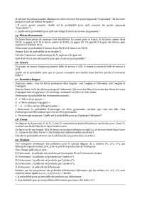Exercices - probabilités - statistiques - 2° partie