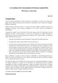 Le vocalisme et le consonantisme du français aujourd'hui (1)