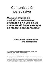 Comunicación Persuasiva - Teoría de la Información (2º Curso) - Trabajo Final - UCM Periodismo