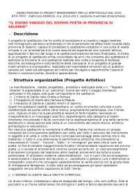 ESERCITAZIONE DI PROJECT MANAGEMENT PER LO SPETTACOLO DAL VIVO