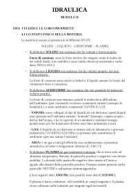 Schemi del Corso di Meccanica dei Fluidi - Hoepli - Unità 3 (I fluidi e le loro proprietà)