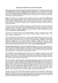 STORIA DEL PARTITO SOCIALISTA ITALIANO