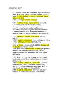 Riassunto storia dell'UE con avvenimenti e date principali