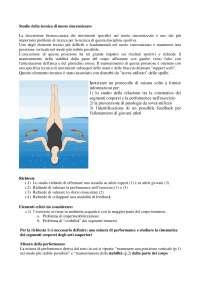 Biomeccanica: Esempi di protocolli svolti 1 nuoto sincronizzato