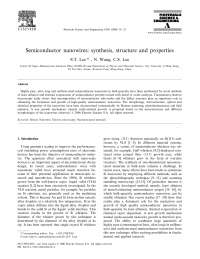 Materials science and engineering a 286(2000)16 23 sc nw synthesis, structure properties lee wang