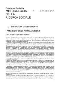 Riassunto Metodologia e Tecniche della ricerca sociale - Corbetta