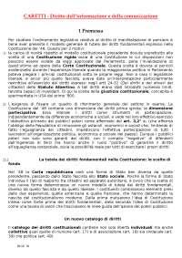 Diritto dell informazione e comunicazione caretti