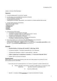 Appunti lezione Tecnica Professionale per il corso di economia Unicatt