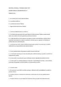Examen Uned derecho administrativo, tipo test