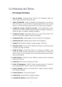 La princese de Clèves: personajes y pregunta para el examen de lectura.
