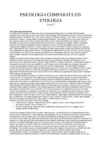 Appunti di Psicologia comparata ed etologia - Parte II