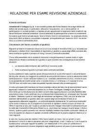 Relazione esame relazione di revisione aziendale
