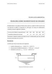 Problema Sedimentador Secundario (Resuelto paso a paso)