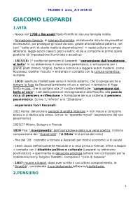 SCHEMA RIASSUNTIVO Giacomo leopardi