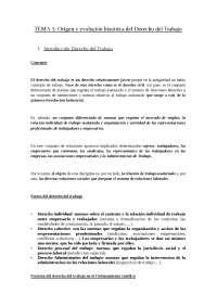 ORIGEN Y EVOLUCIÓN HISTÓRICA DE DERECHO DEL TRABAJO