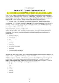 Riassunto Storia delle televisioni in Italia - dagli esordi alle web tv , Piazzoni