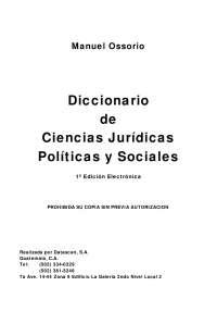 Diccionario de ciencias jurídicas políticas y sociales manuel ossorio