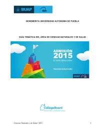 Guía BUAP 2015 área de ciencias naturales y de salud