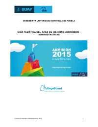 Guía BUAP 2015 área de ciencias económico administrativas