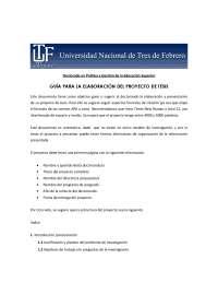 Criterios elaboración proyecto de tesis