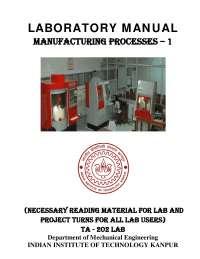 Mechanical workshop lab manual-IIT kharagpur