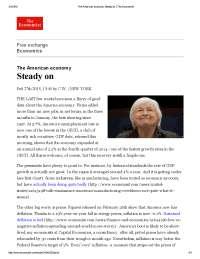 The american economy steady on the economist