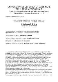 Relazione I° Ciclo Tirocinio in Scienze dell'Educazione - Università di Cassino