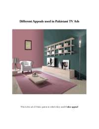 Different appeals used in pakistani tv ads