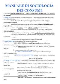 Riassunto Manuale di sociologia dei consumi - Codeluppi Vanni