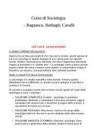 Corso di Sociologia - Bagnasco, Barbagli, Cavalli