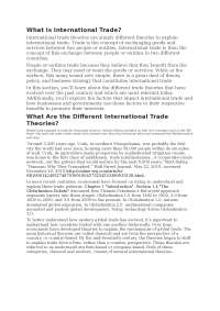 Different international trade theories