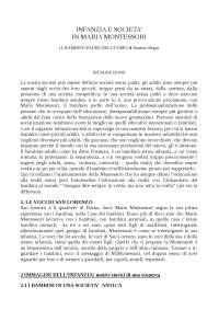 Infanzia e società in Maria Montessori. Il bambino padre dell'uomo