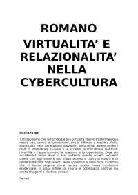 ROMANO virtualità e relazionalità nella cybercultura