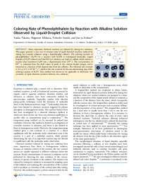 Coloring Rate of Phenolphthalein by Reaction with Alkaline Solution Observed by Liquid-Droplet Collision