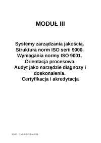 Modul 3 systemy zarzadzania jakoscia iso