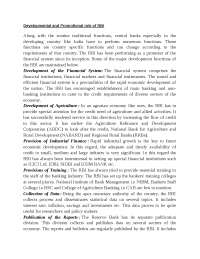 Developmental and promotional role of rbi