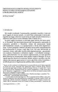 OMOSESSUALITA E DIRITTO PENALE IN OCCIDENTE: PROFILI STORICI DI DECRIMINALIZZAZIONE E PROBLEMATICHE APERTE*