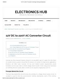 12v dc to 220v ac converter circuit design, working and applications