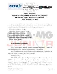 Edital para seleção de coordenadores Crea-Minas Júnior Núcleo Divinópolis