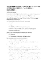 Fundamentos de Lingüística funcional en relación con el plano de la expresión