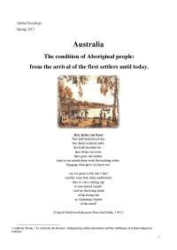 Global Sociology - Australia. The condition of Aboriginal people.