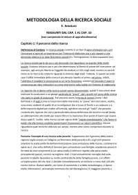 Riassunto di Metodologia della ricerca sociale - E. Amaturo (capitoli 1-10)