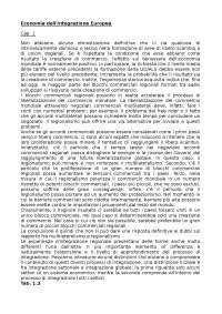 ECONOMIA DELL'INTEGRAZIONE EUROPEA - ORCALLI