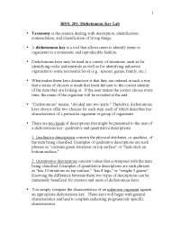 Biol 201 1 systematics lab